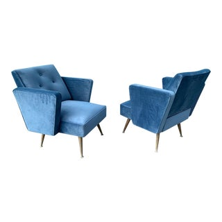 1950's Velvet Matching Accent Chairs For Sale