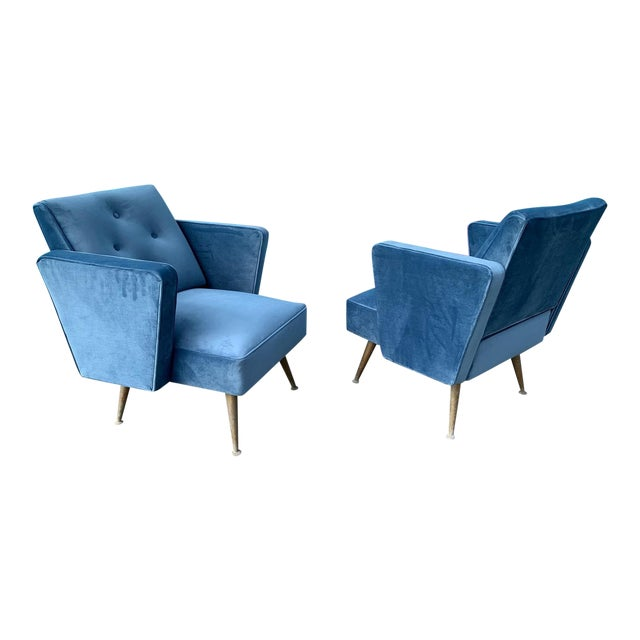 1950s Accent Chairs.1950 S Velvet Matching Accent Chairs