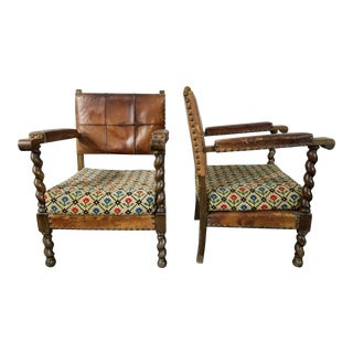 French Antique Carved Louis XIII Barley Twist Chairs - A Pair