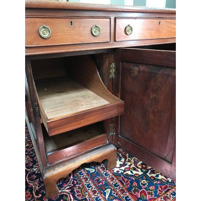 Antique Gothic Revival Oak Leather Top Partner's Desk For Sale - Image 10 of 12