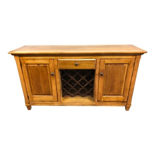 Romweber Americana Oak Credenza With Wine Rack For Sale