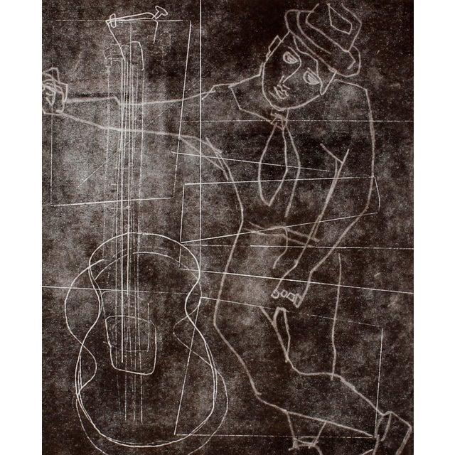 "R. Delamater ""The Musician I"" Original Monotype - Image 1 of 2"