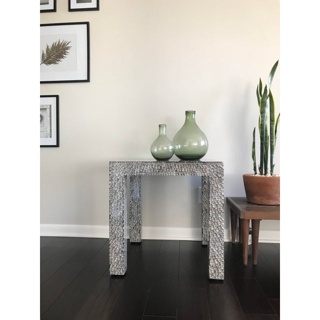 Contemporary Made Goods Vertagus Shell Inlay Parsons Side Table For Sale - Image 12 of 13