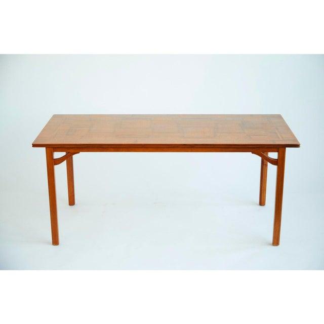 1960s Carl Malmsten Scandinavian Modern Walnut Veneer Sofa Table
