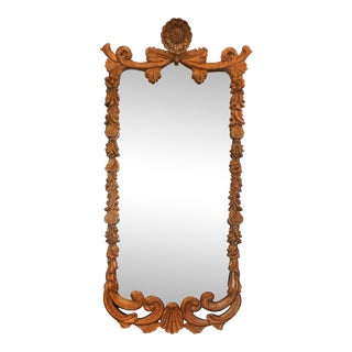 Carved Wood Mirror in Antique Gold Finish For Sale