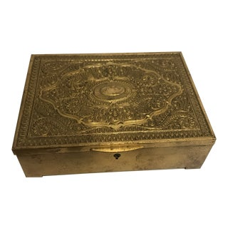 Vintage Brass Clad Trinket/Jewelry Box For Sale