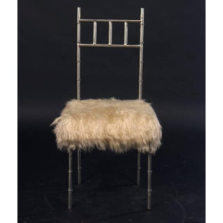Nickel Over Iron Bamboo Chairs With Goat Fur Seats - a Pair Preview