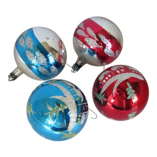 Vintage Glass Christmas Ornaments - Set of 4