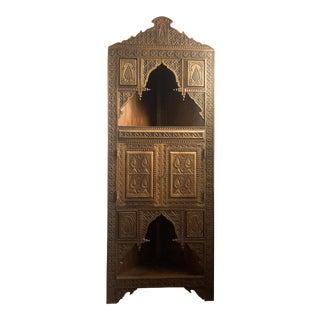 1980s Vintage Hand Carved Moorish Style Corner Cabinet For Sale