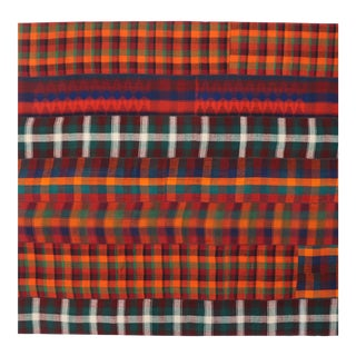 Vintage Plaid Kilim Rug With Ralph Lauren Style and Timeless Tartan Charm - 11′2″ × 11′11″ For Sale