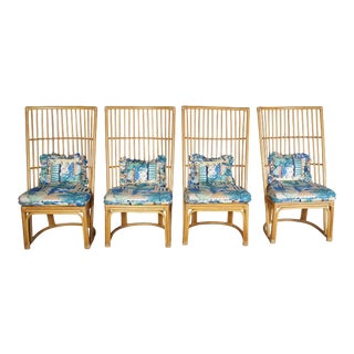 Boho Chic Bamboo Rattan Highback Chairs - Set of 4 For Sale