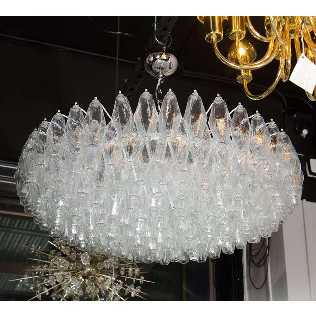Modernist Handblown Murano Translucent Glass and Chrome Polyhedral Chandelier For Sale In New York - Image 6 of 8