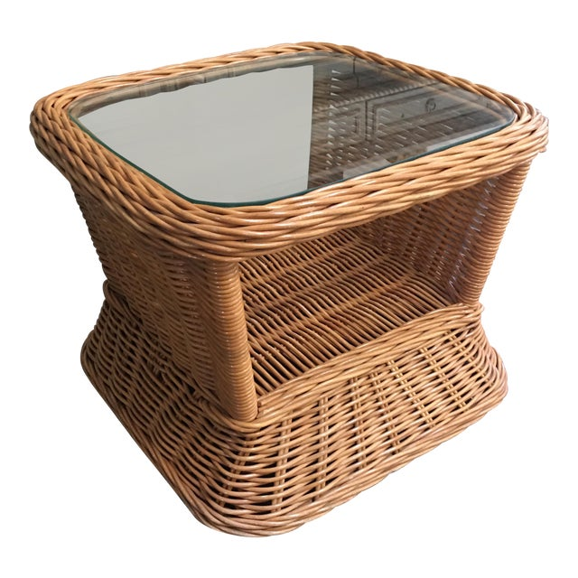 1970s Boho Crespi Style Woven Rattan Wicker Glass Top Bamboo Table For Sale