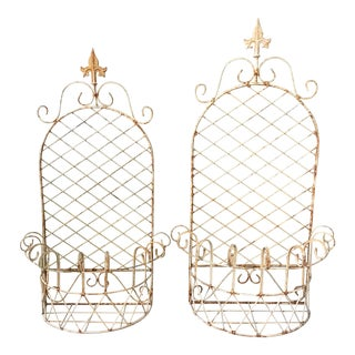 Early 20th Century Vintage French Wrought Iron Hanging Baskets- A Pair For Sale