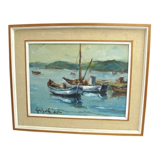 1960s Vintage Ottone Griselli Italian Maritime Scene Painting For Sale