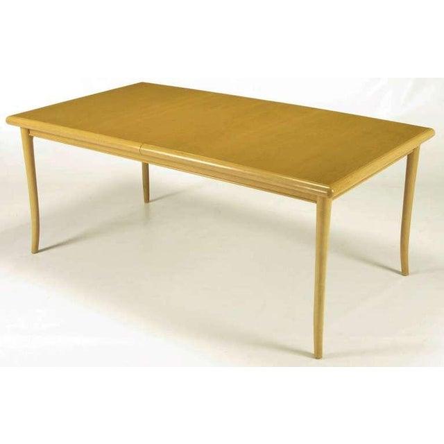 T.H.Robsjohn-Gibbings Bleached & Glazed Mahogany Saber Leg Dining Table - Image 5 of 8