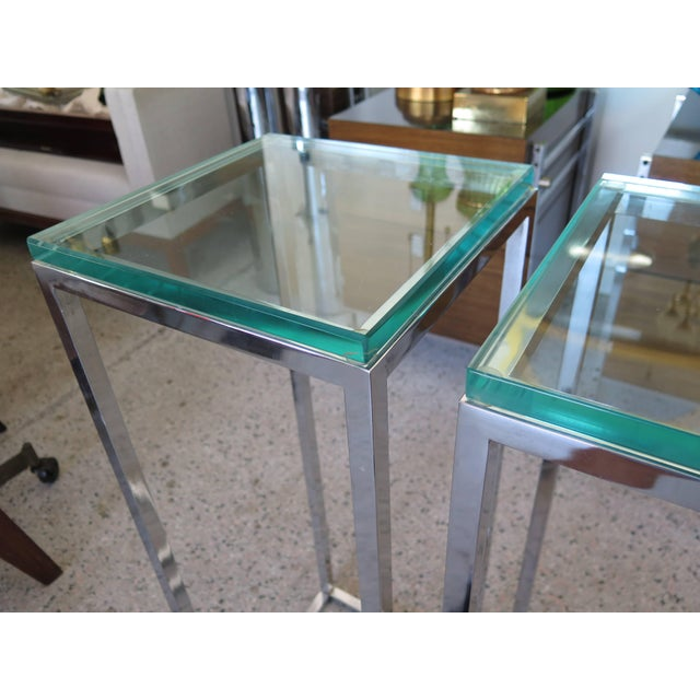 Modern 1970s Modern Tall Chrome Pedestal Tables - a Pair For Sale - Image 3 of 8