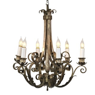 Gothic Pewter or Plated 6 Arm Chandelier