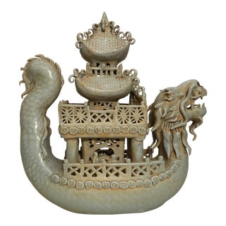 Chinese Porcelain Dragon Boat With Pagoda Figurine For Sale