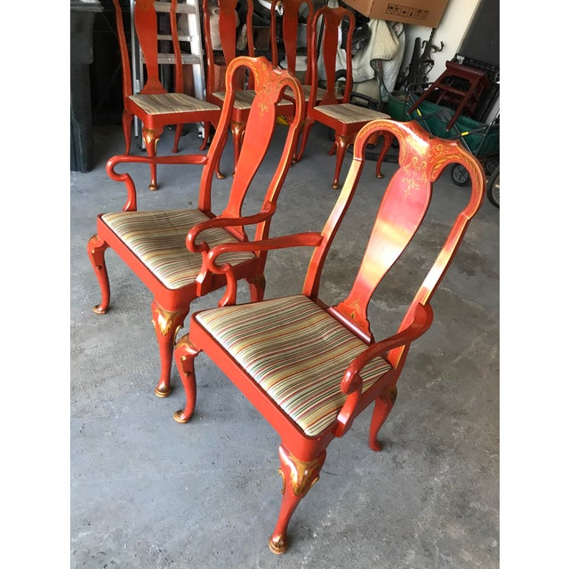 Chinoiserie Baker Queen Anne Red Lacquer Chinoiserie Chairs - Set of 8 For Sale - Image 3 of 12