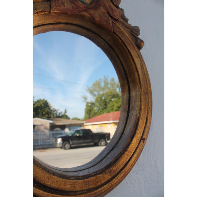 Antique Hand Carved Solid Wood Wall Mirror - Image 6 of 8