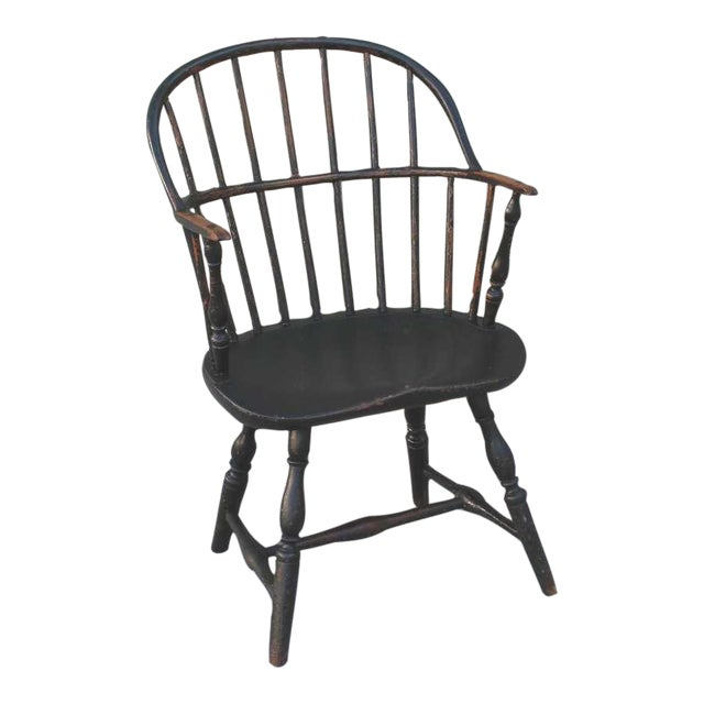 18th Century Original Green Extended-Arm Windsor Chair - Image 1 of 10