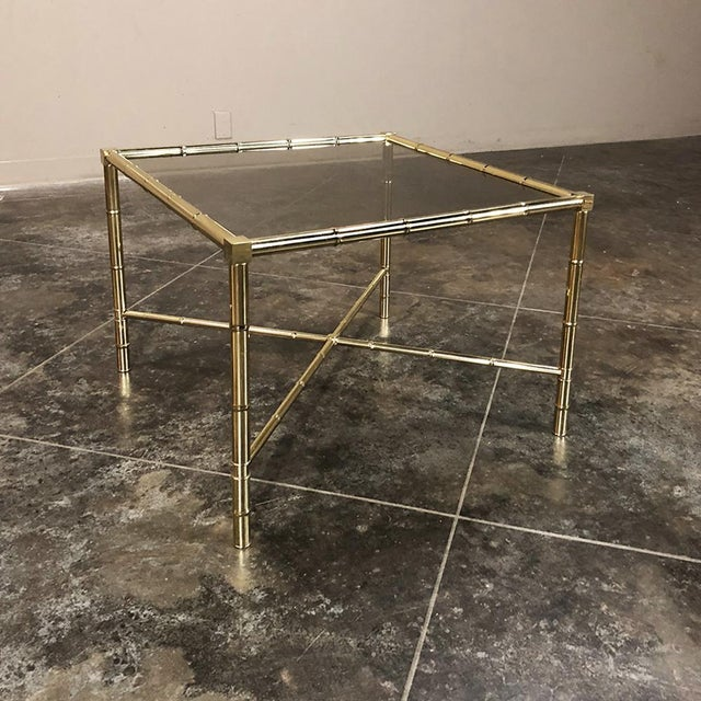 Mid 20th Century Mid Century Brass Smoked Glass Top End ~ Coffee Table For Sale - Image 5 of 12