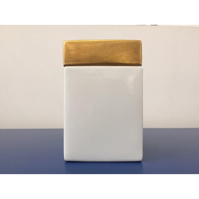 Vintage Gold & White Ceramic Jar - Image 2 of 5