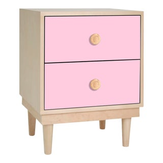 Lukka Modern Kids 2-Drawer Nightstand in Maple With Pink Finish For Sale