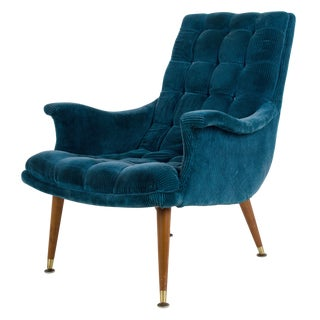 Vintage Mid-Century Modern Blue Ribbed Velvet Chair For Sale