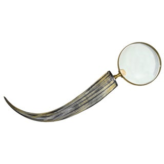 Solid Brass Magnifier Magnifying Glass Mounted on Long Polished Buffalo Horn Handle For Sale