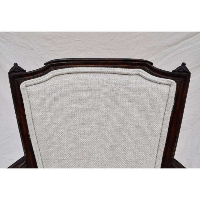Antique White Louis XVI French Walnut Fauteuil Accent Chair For Sale - Image 8 of 13