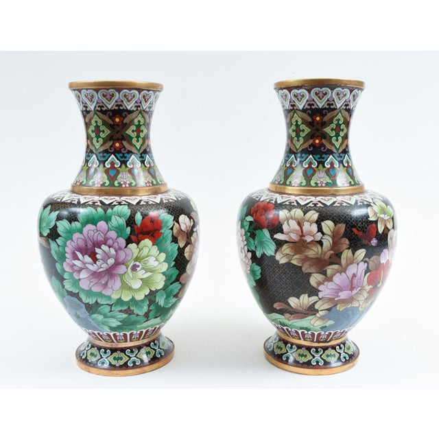 Contemporary Mid-20th Century Colorful Cloisonné Decorative Vases - a Pair For Sale - Image 3 of 13