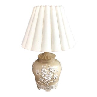 1950s Italian Floral Relief Ceramic Lamp With Pleated Shade For Sale