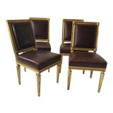 Image of French Style Louis XVI Giltwood/ Leather Dining Chairs- Set of 4 For Sale