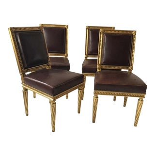 French Style Louis XVI Giltwood/ Leather Dining Chairs- Set of 4 For Sale