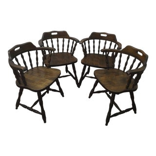 1950s Vintage Yugoslavian Barrel Back Windsor Captain Chairs - Set of 4 For Sale