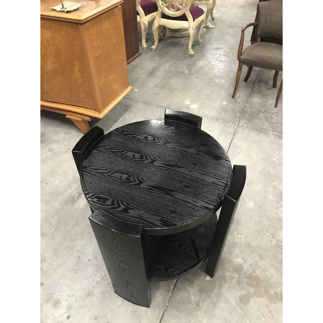 Monumental French Art Deco Solid Ebonized Cerused Oak Coffee Table Circa 1940s. - Image 2 of 11