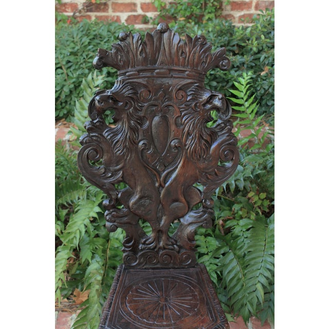 Italian Mid 19th Century Antique Italian Carved Walnut Sgabello Chair For Sale - Image 3 of 13