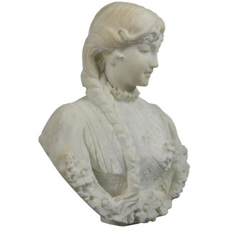 Late 19th Century Antique Italian Carved Alabaster Young Woman Portrait Sculpture For Sale