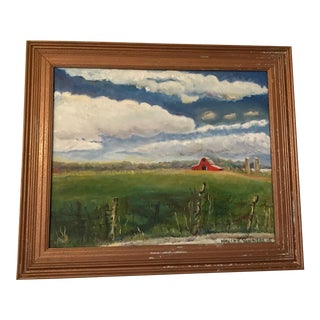 "Nancy T. Van Ness ""Fence With Barn Farm House Scene"" Oil Painting For Sale"