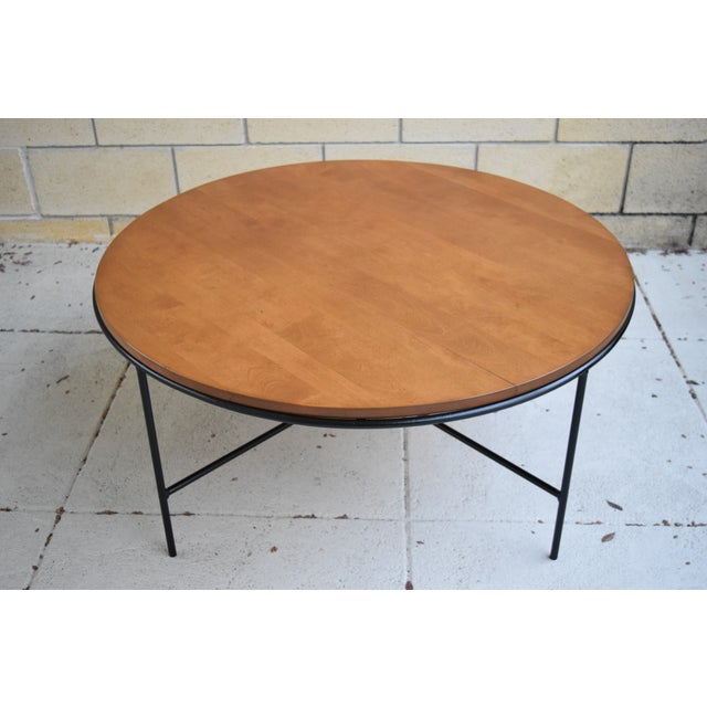 Paul McCobb Mid Century Modern Iron Base Round Coffee Table - Image 3 of 11