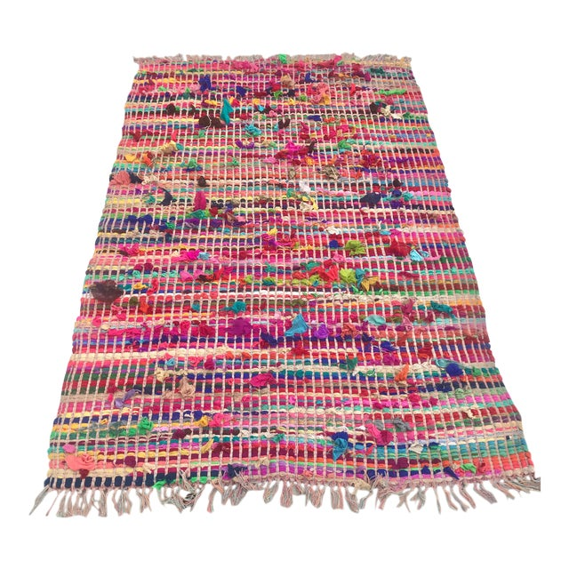 Indian Multicolor Rug - 4′ × 6′ For Sale
