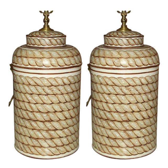 Pair of Hand-Painted Tole Canister Lamps For Sale
