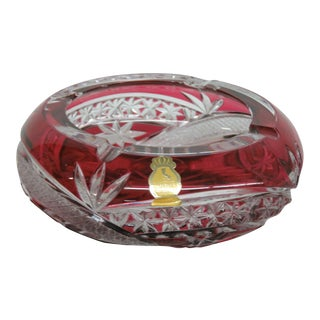 Mid 20th Century Imperlux Bohemian Ruby Red Cut to Clear Lead Crystal Ash Tray Dish For Sale
