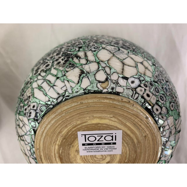 Green Silver/Green Eggshell & Bamboo Lacquered Covered Boxes - a Pair For Sale - Image 8 of 10