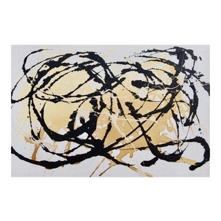 Black and White Contemporary Original Painting: Mid-Century Modern Inspired