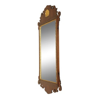 Friedman Brothers Mahogany Chippendale Style Gilt Shell Carved Wall Mirror For Sale