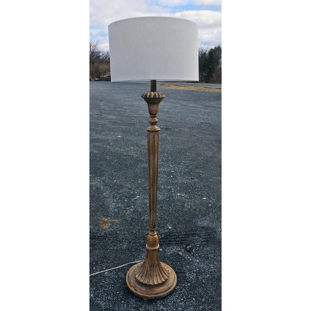 1980s Vintage Carved Wooden Deco Style Floor Lamp For Sale - Image 11 of 11