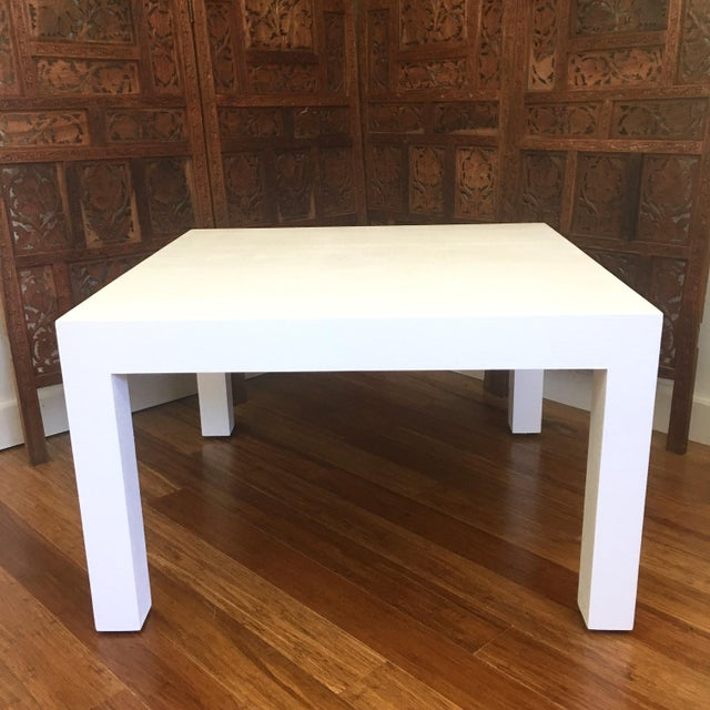 Vintage classic grasscloth parsons coffee table with perfect modern lines and texture. This table has been restored with...